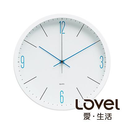 Lovel 25cm潔淨藍白膠框靜音時鐘-共3款