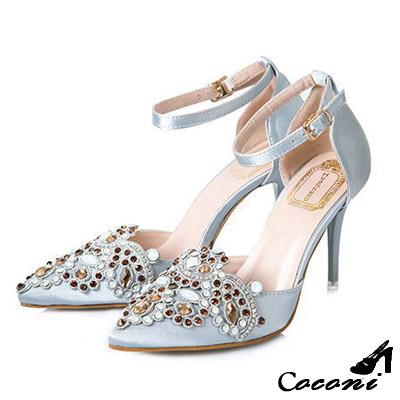 CoConi-奢華寶石-性感斜口繞帶繫踝尖頭跟鞋