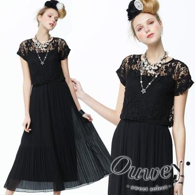 OUWEY歐薇-縷空蕾絲二件式壓褶雪紡長洋裝