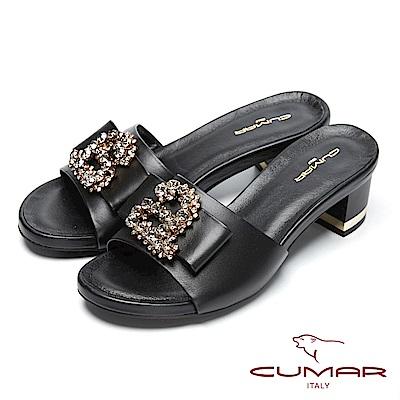 CUMAR經典時尚-寳石水鑽裝飾粗跟涼鞋-黑色