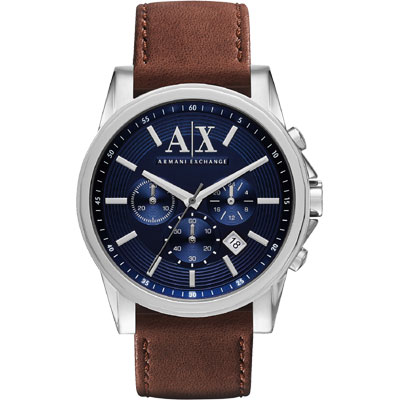 A│X Armani Exchange 時尚三眼計時腕錶-藍x咖啡/44mm