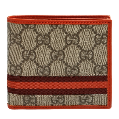 GUCCI 經典GG PLUS雙色織帶零錢袋短夾(橘)