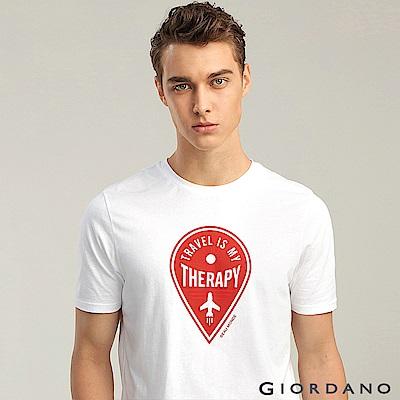 GIORDANO 男裝棉質熱愛旅行印花圓領T恤-14 標誌白