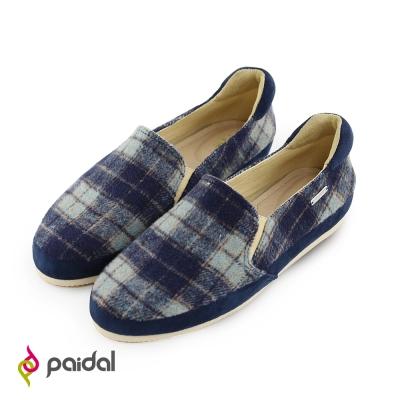 Paidal英倫時尚格紋休閒鞋樂福懶人鞋--藍