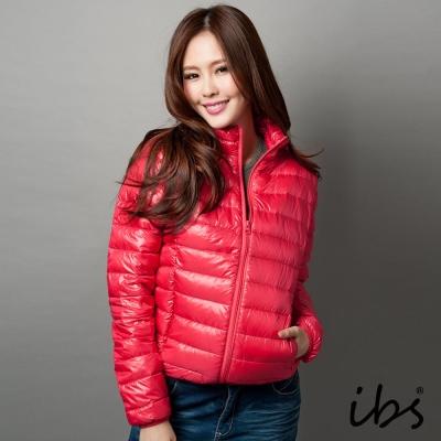 ibs-極輕量純白絨立領羽絨外套-女-深粉紅