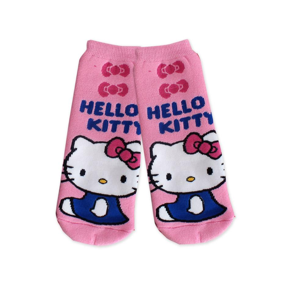 Hello Kitty凱蒂貓-蝴蝶結長毛巾直板襪(紫)