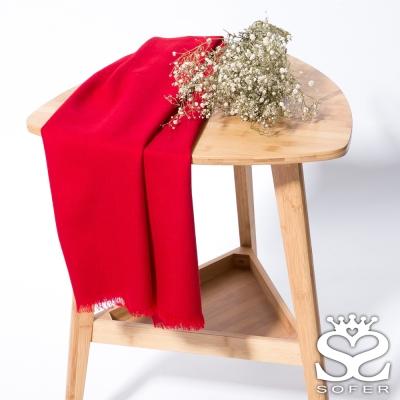 SOFER-經典素色100-羊毛保暖披肩-圍巾-酒漾紅