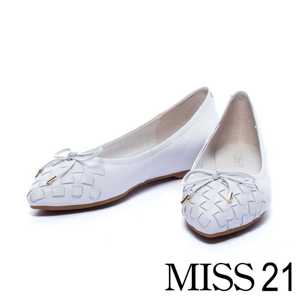平底鞋 MISS 21 優雅編織羊皮內增高平底鞋-白