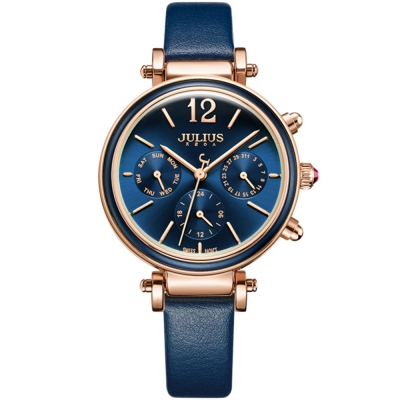 JULIUS聚利時 LADY FIRST三眼設計皮錶帶腕錶-深邃藍/34mm