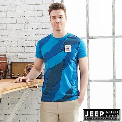 JEEP 型男花漾迷彩短袖TEE-海洋藍