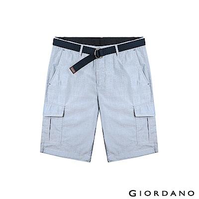 GIORDANO 男裝附腰帶COOLMAX素色口袋卡其短褲-13 淺藍白