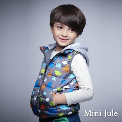 Mini Jule 童裝-鋪棉背心 搖粒絨多彩恐龍拉鍊連帽背心(灰)