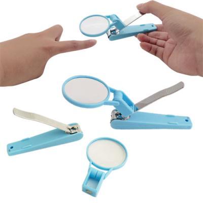 日本旋轉式安全指甲剪+附放大鏡-適合老人幼童 預防剪到肉