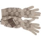 GUCCI 經典雙G織紋喀什米爾手套(淺咖啡色/100%CASHMERE)