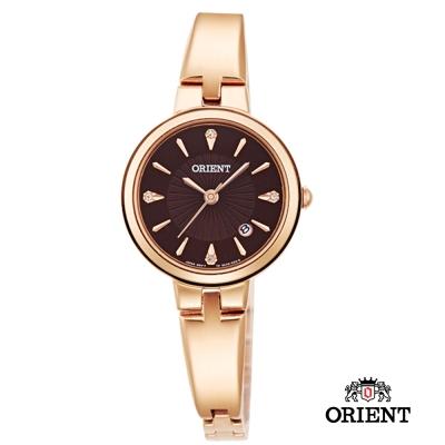 ORIENT 東方錶 DRESS系列 簡約優雅女錶-咖啡色x玫瑰金/26mm