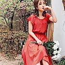 婚禮系列~飄逸感交叉裙襬純色圓領/一字領雪紡長洋裝-OB嚴選