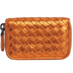 BOTTEGA VENETA 經典手工編織條紋皮革拉鍊零錢包(亮橙金)