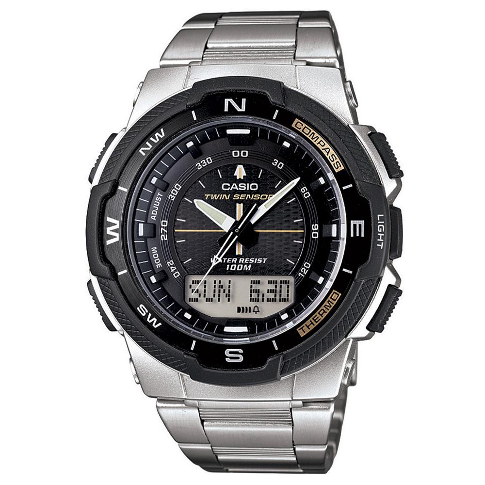 CASIO 輕巧登山王者風範戶外運動雙顯不鏽鋼錶(SGW-500HD-1B)-黑/46.8mm