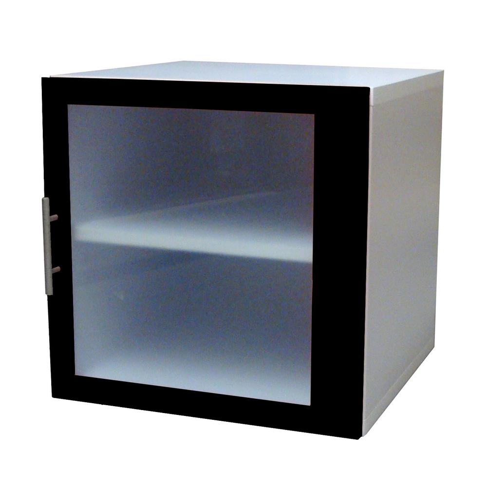悅家居活力方塊玻璃門雙格書櫃-黑