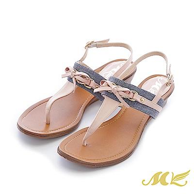 MK-台灣真皮-海軍風蝴蝶結T型夾腳低跟涼鞋-粉色