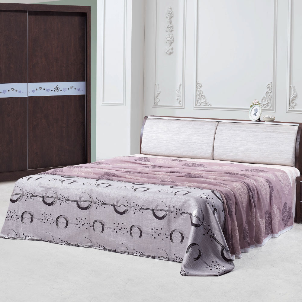 品家居 米卡羅6尺皮革雙人加大床台(不含床墊)-182x212x92cm免組