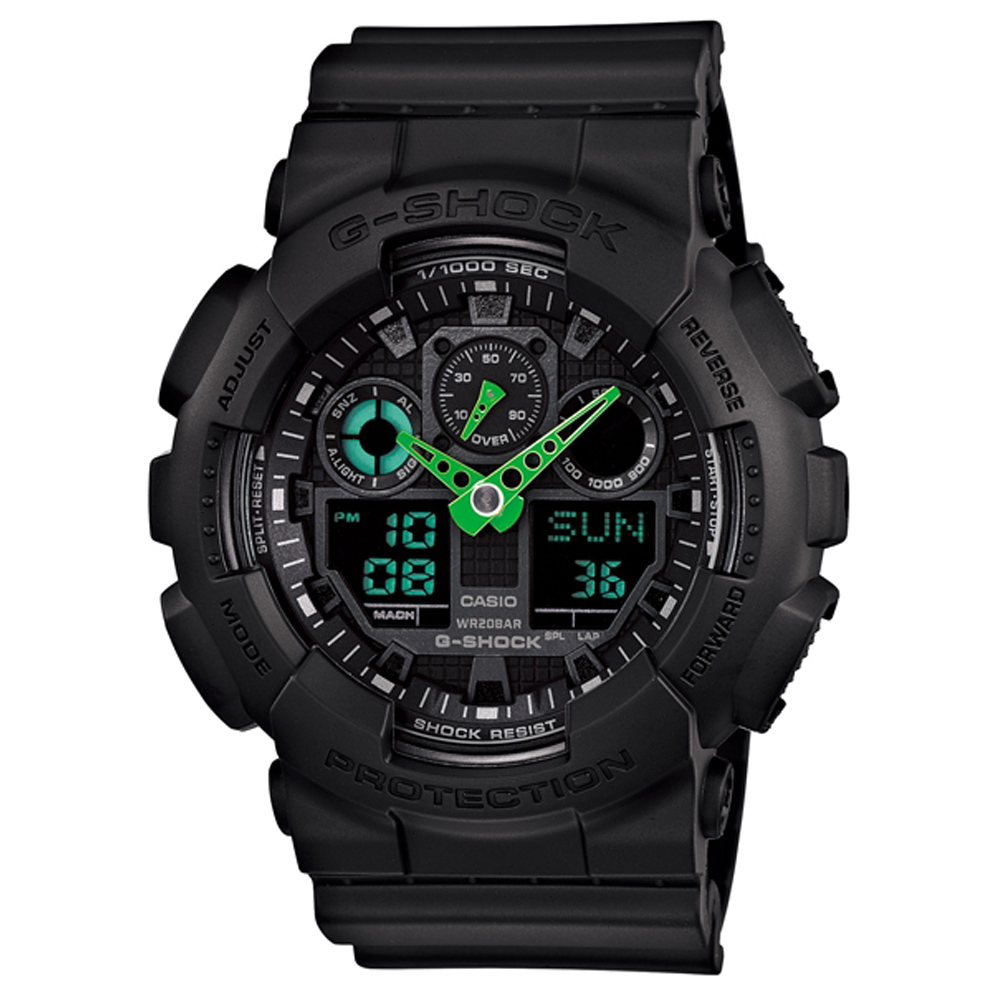 G-SHOCK 搶眼跳色重型機械感Man抗磁運動錶-黑x綠/52mm