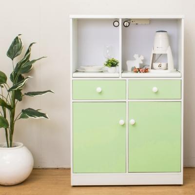 Birdie南亞塑鋼-2.9尺二開二抽塑鋼電器櫃/餐櫃(白+粉綠)-86x41x131cm