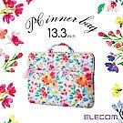 ELECOM 水彩花卉手提收納袋13.3吋-粉