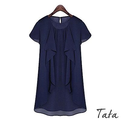 不規則荷葉邊雪紡洋裝 中大尺碼 共二色 TATA