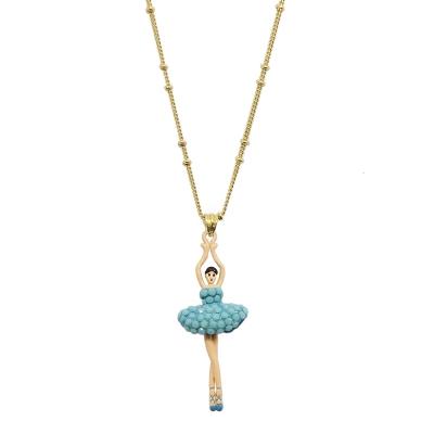 Les Nereides 優雅芭蕾舞女孩系列 綠松石藍水晶舞者金色項鍊
