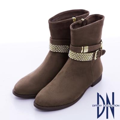 DN 簡約率性 耀眼金屬扣飾低跟中筒靴 咖