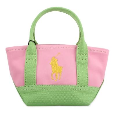 RALPH LAUREN POLO 經典馬球LOGO迷你手提包-粉紅/綠