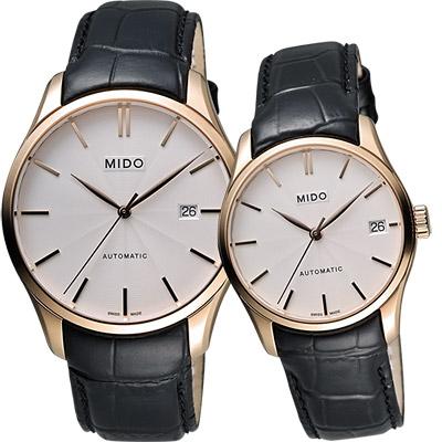 MIDO Belluna II 雋永系列經典機械對錶-玫瑰金框x黑/40+33mm