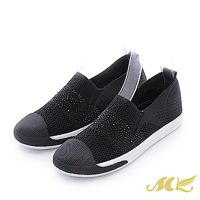 MK-晶鑽真皮-水鑽透氣彈性休閒厚底懶人鞋-黑色
