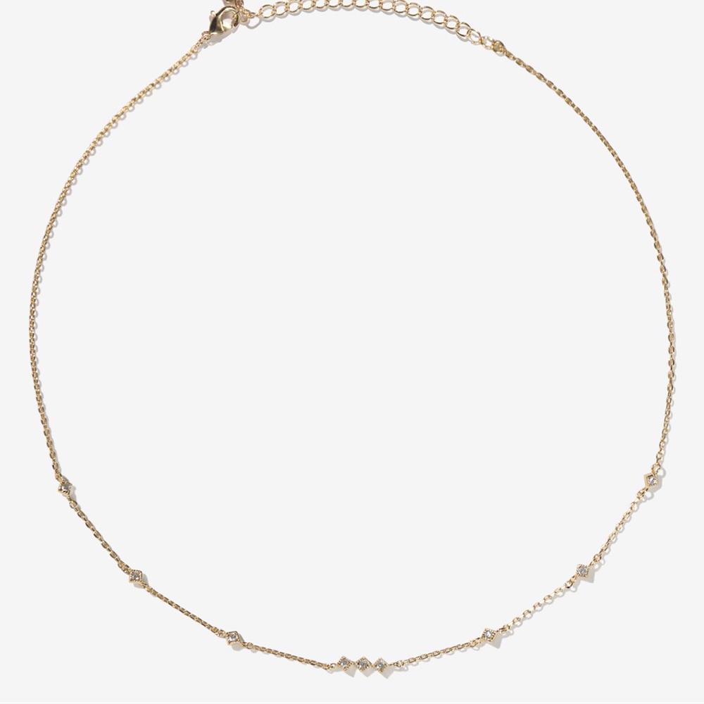 微醺禮物 頸鍊 正韓 鍍16K金 金屬頸鍊 菱形 中間三顆排列 項鍊 鎖骨鍊