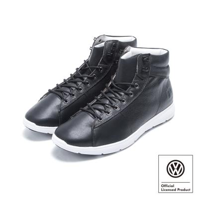Volkswagen福斯 造型短筒式牛皮休閒鞋 Wolfsburg-黑色