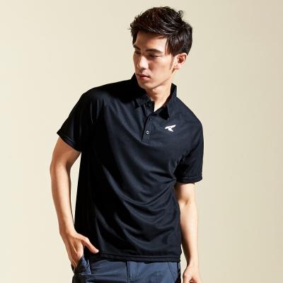 【AIRWALK】簡約立領排汗T恤-黑色