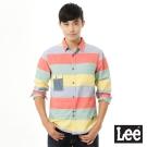 Lee 長袖藍色口袋彩色線條襯衫UR-男款