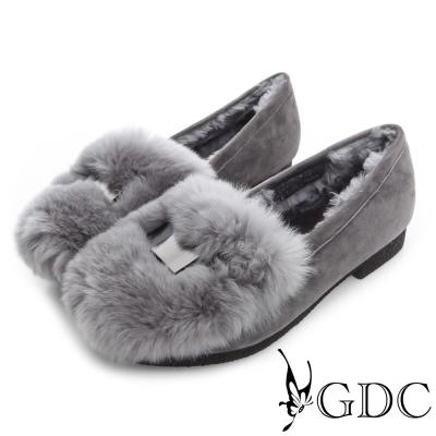 GDC百搭-真皮金屬飾扣毛毛保暖麂皮低跟鞋-槍灰色