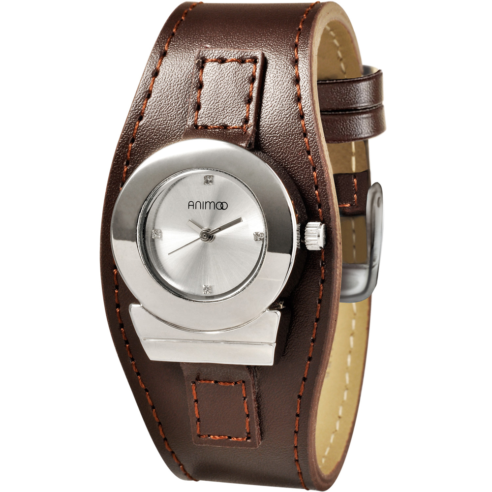 ANIMOO 愛情星座時尚腕錶-銀x咖啡色錶帶/28mm