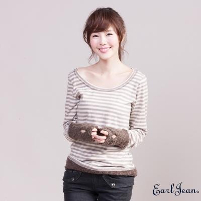 Earl Jean條紋配毛圈布圓領T恤-女-咖啡/米白條
