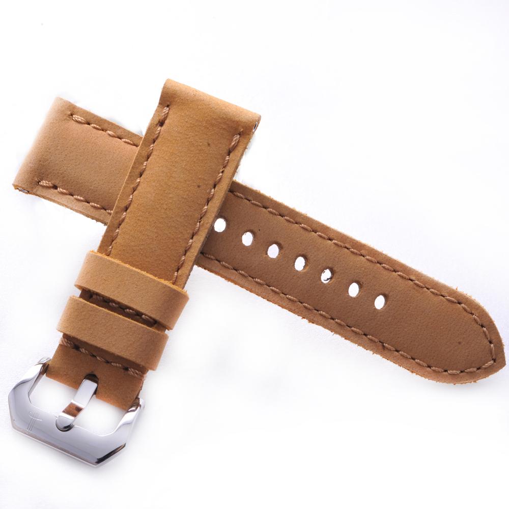 TED SU 太和錶帶 巴比倫Panerai 沛納海代用帶黃色牛皮金色線-24*22mm