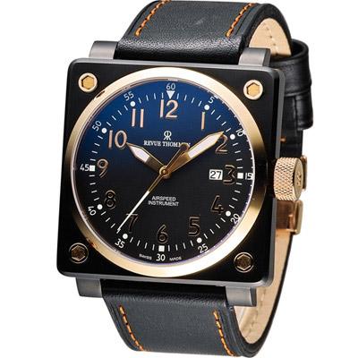 Revue Thommen 梭曼超級領航者飛行機械錶-黑x玫瑰金/44x44mm