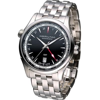Hamilton Jazzmaster GMT 瑞士自動機械錶-黑/42mm