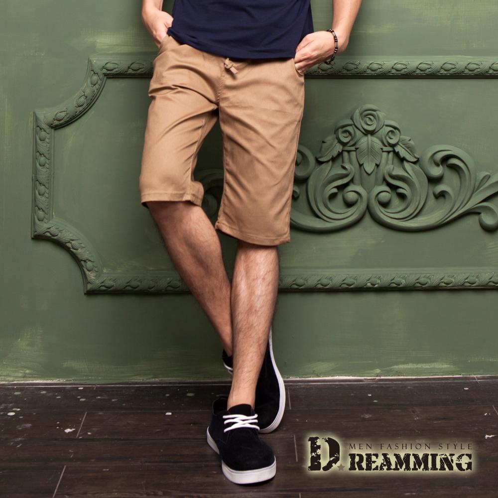 Dreamming 夏日潮感布標鬆緊抽繩休閒短褲-共五色 (卡其)