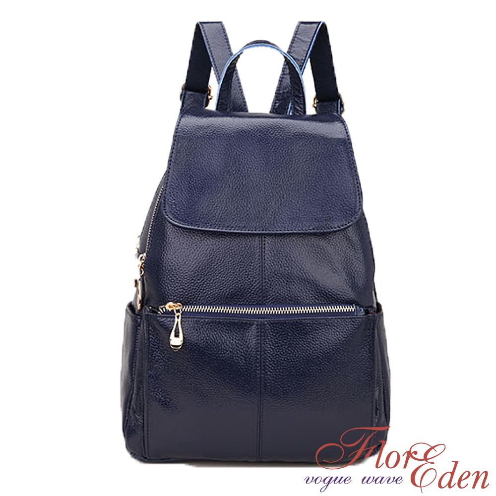 DF Flor Eden韓系專屬二代包款時尚牛皮皮革後背包-時尚藍