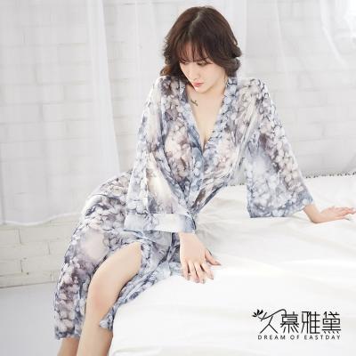 性感睡衣 浪漫印花雪紡飄逸睡袍 久慕雅黛