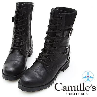 Camille's 韓國空運-拼接毛線綁帶短靴-黑色