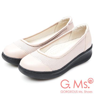 G.Ms. 牛皮洞洞厚底坡跟鞋-粉杏