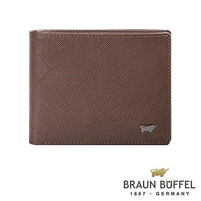 BRAUN-BUFFEL-RUFINO洛非諾系列8卡中間翻零錢皮夾-可可棕